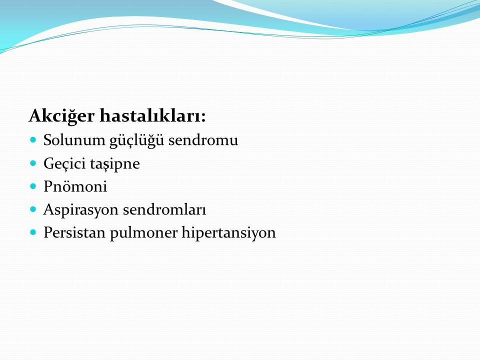 Hava kaçakları (pnömotoraks,pnömomediastinum,interstisyel amfizem) Doğumsal malformasyonlar (diyafragma hernisi, akciğer hipoplazisi, doğumsal amfizem, trakeal fistül) Atelektazi Akciğerde kanama Kronik akciğer hastalığı (bronkopulmoner displazi)