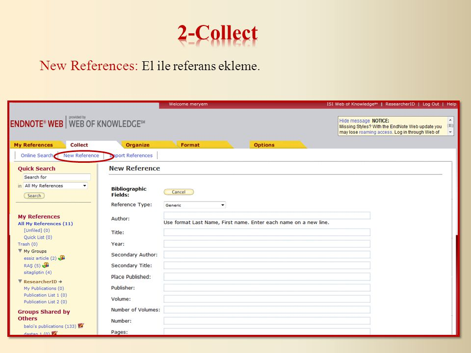 New References: El ile referans ekleme.