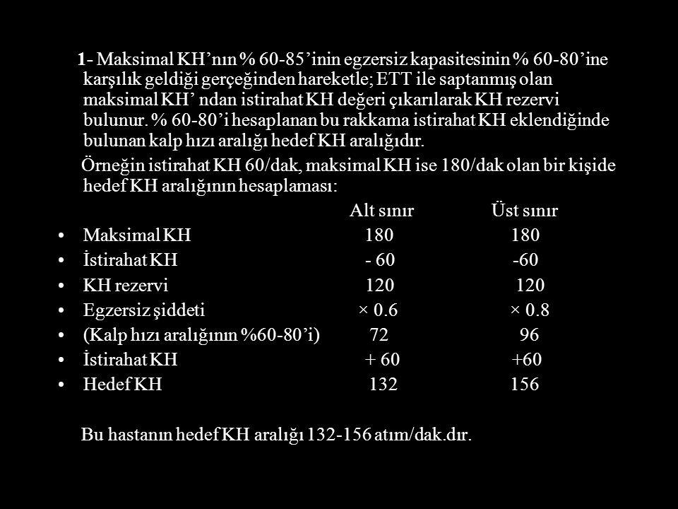 1- Maksimal KH'nın % 60-85'inin egzersiz kapasitesinin % 60-80'ine karşılık geldiği gerçeğinden hareketle; ETT ile saptanmış olan maksimal KH' ndan istirahat KH değeri çıkarılarak KH rezervi bulunur.