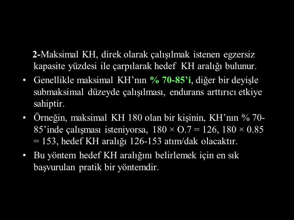 2-Maksimal KH, direk olarak çalışılmak istenen egzersiz kapasite yüzdesi ile çarpılarak hedef KH aralığı bulunur.