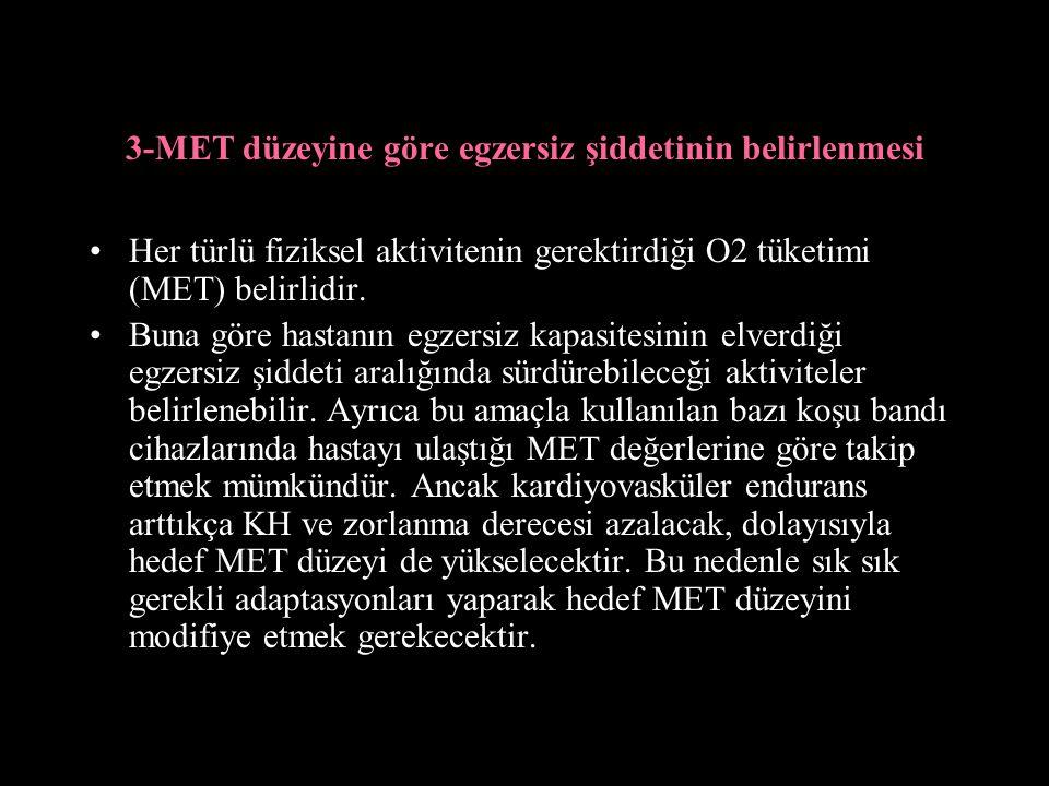 3-MET düzeyine göre egzersiz şiddetinin belirlenmesi Her türlü fiziksel aktivitenin gerektirdiği O2 tüketimi (MET) belirlidir.