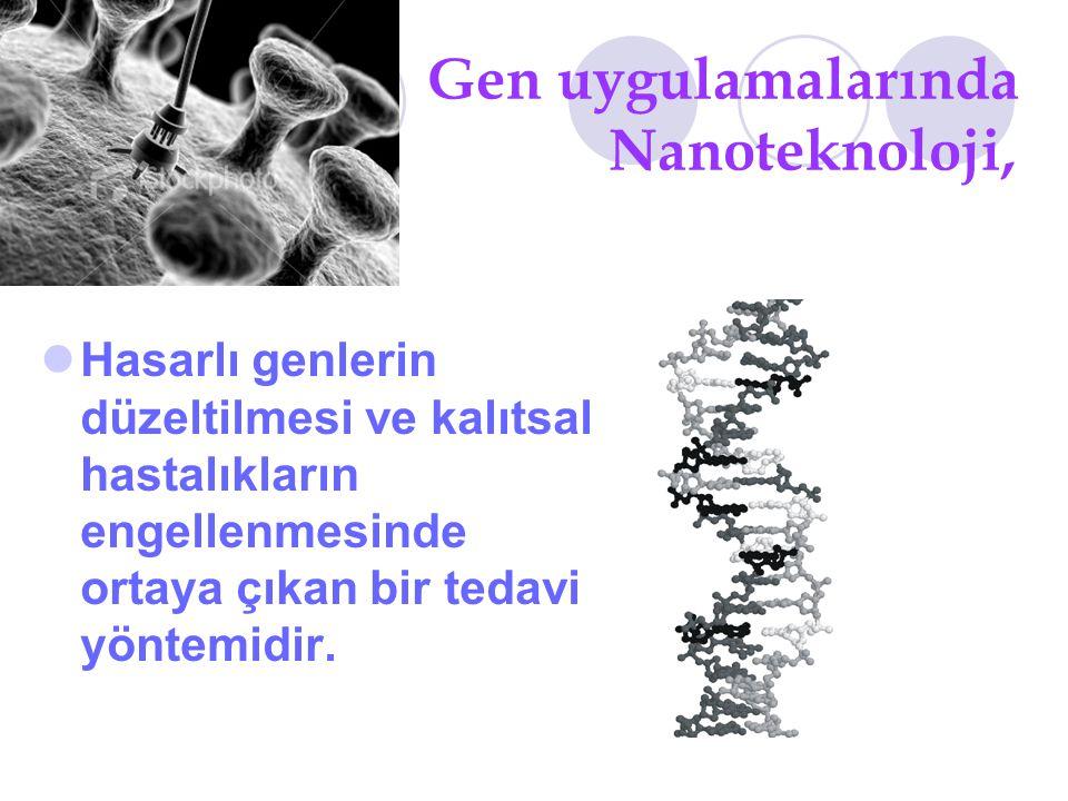 Gen uygulamalarında Nanoteknoloji, Hasarlı genlerin düzeltilmesi ve kalıtsal hastalıkların engellenmesinde ortaya çıkan bir tedavi yöntemidir.
