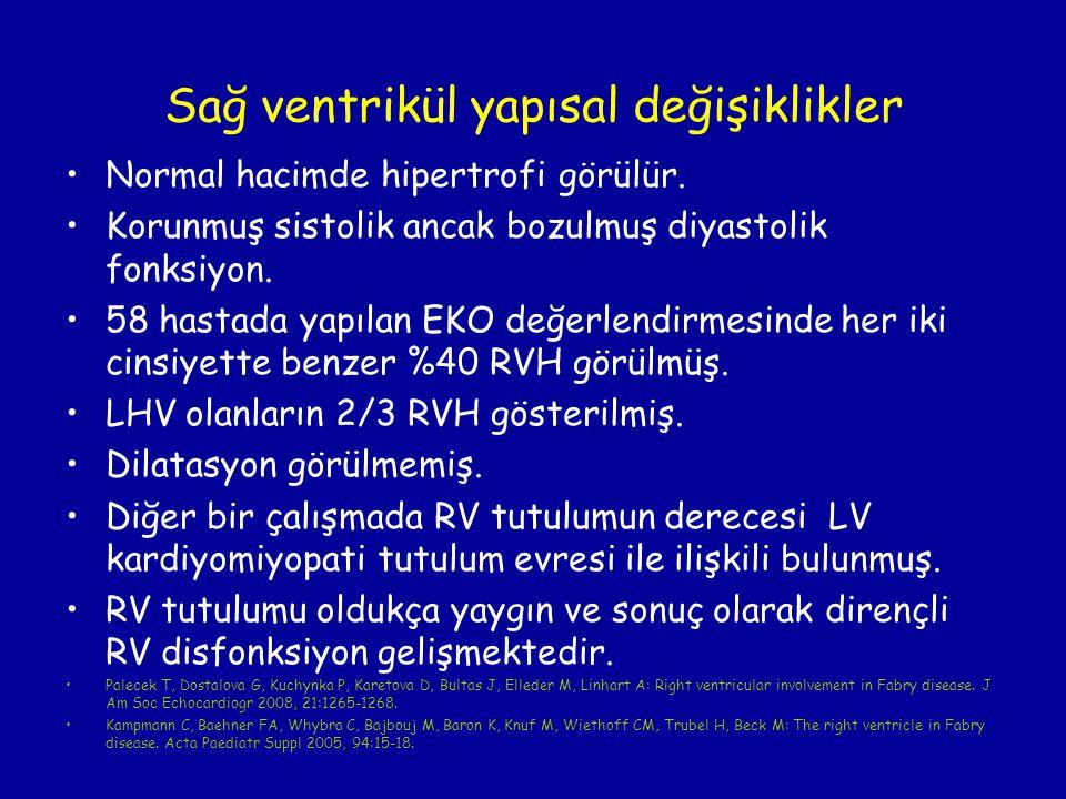Normal hacimde hipertrofi görülür. Korunmuş sistolik ancak bozulmuş diyastolik fonksiyon. 58 hastada yapılan EKO değerlendirmesinde her iki cinsiyette