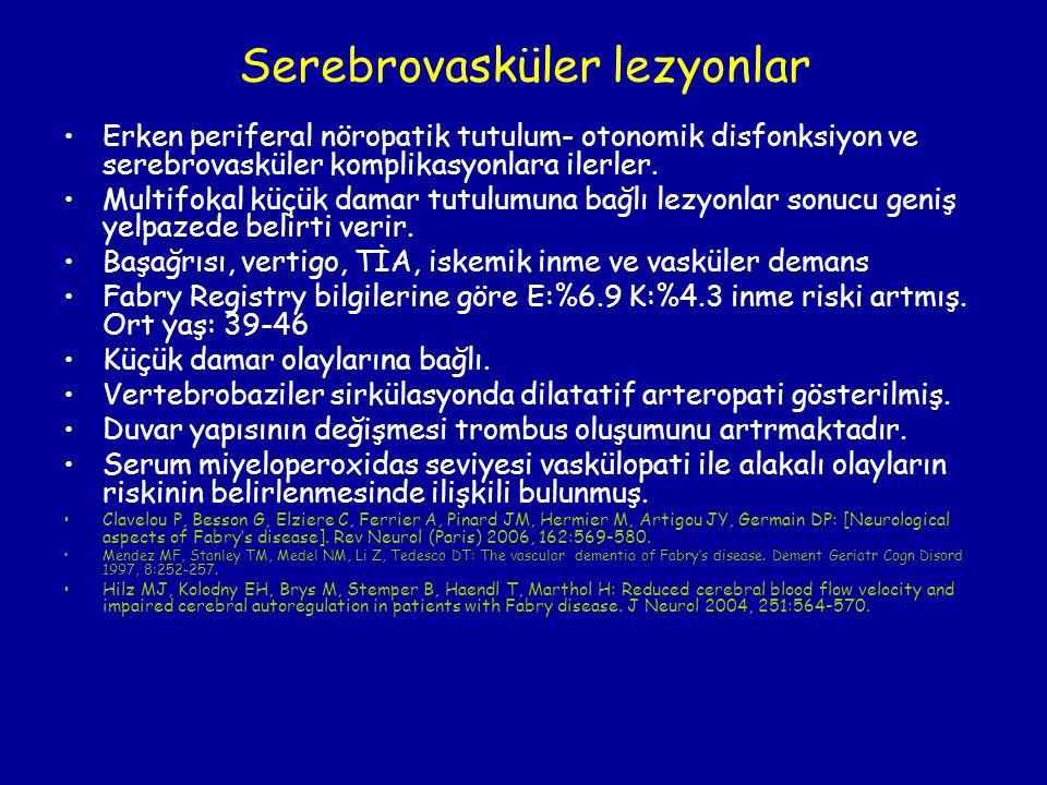 Serebrovasküler lezyonlar Erken periferal nöropatik tutulum- otonomik disfonksiyon ve serebrovasküler komplikasyonlara ilerler. Multifokal küçük damar