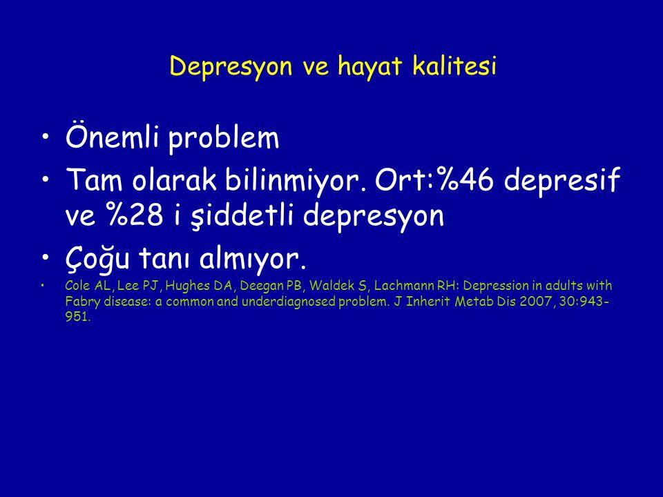 Depresyon ve hayat kalitesi Önemli problem Tam olarak bilinmiyor. Ort:%46 depresif ve %28 i şiddetli depresyon Çoğu tanı almıyor. Cole AL, Lee PJ, Hug