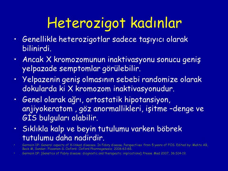 Heterozigot kadınlar Genellikle heterozigotlar sadece taşıyıcı olarak bilinirdi. Ancak X kromozomunun inaktivasyonu sonucu geniş yelpazade semptomlar