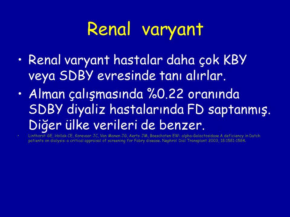 Renal varyant Renal varyant hastalar daha çok KBY veya SDBY evresinde tanı alırlar. Alman çalışmasında %0.22 oranında SDBY diyaliz hastalarında FD sap