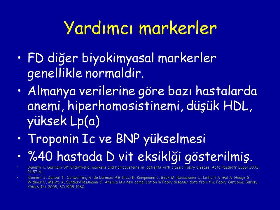 Yardımcı markerler FD diğer biyokimyasal markerler genellikle normaldir. Almanya verilerine göre bazı hastalarda anemi, hiperhomosistinemi, düşük HDL,