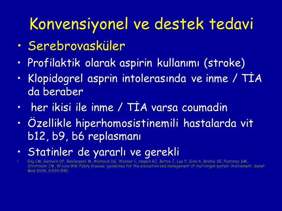 Konvensiyonel ve destek tedavi Serebrovasküler Profilaktik olarak aspirin kullanımı (stroke) Klopidogrel asprin intolerasında ve inme / TİA da beraber