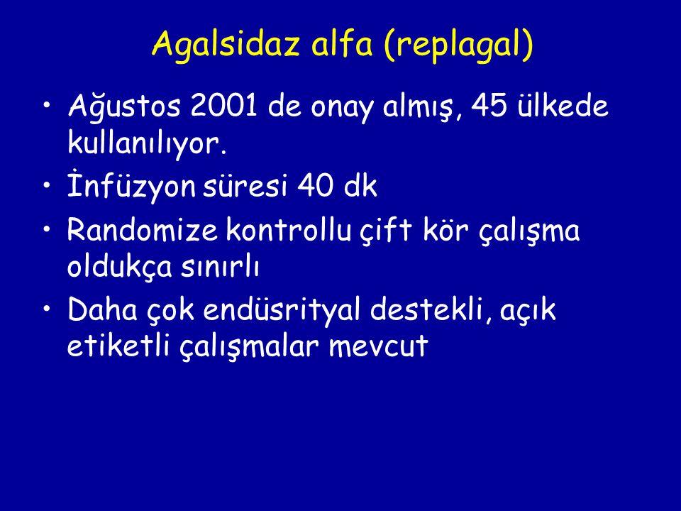 Agalsidaz alfa (replagal) Ağustos 2001 de onay almış, 45 ülkede kullanılıyor. İnfüzyon süresi 40 dk Randomize kontrollu çift kör çalışma oldukça sınır