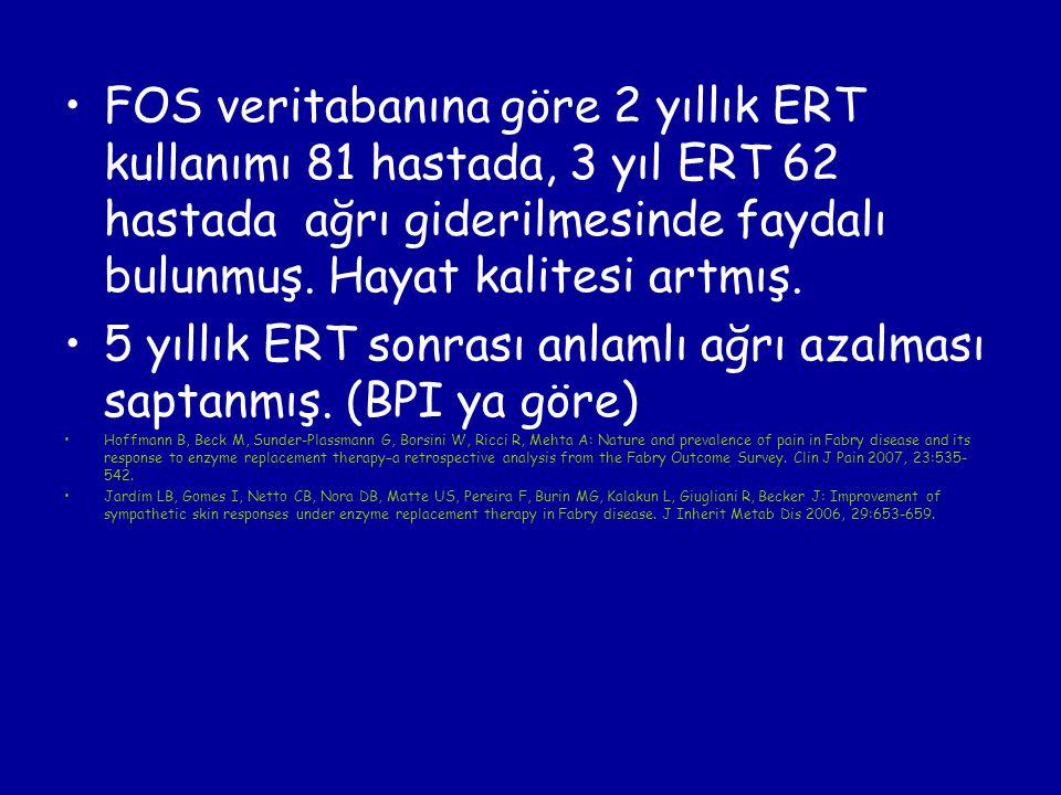 FOS veritabanına göre 2 yıllık ERT kullanımı 81 hastada, 3 yıl ERT 62 hastada ağrı giderilmesinde faydalı bulunmuş. Hayat kalitesi artmış. 5 yıllık ER