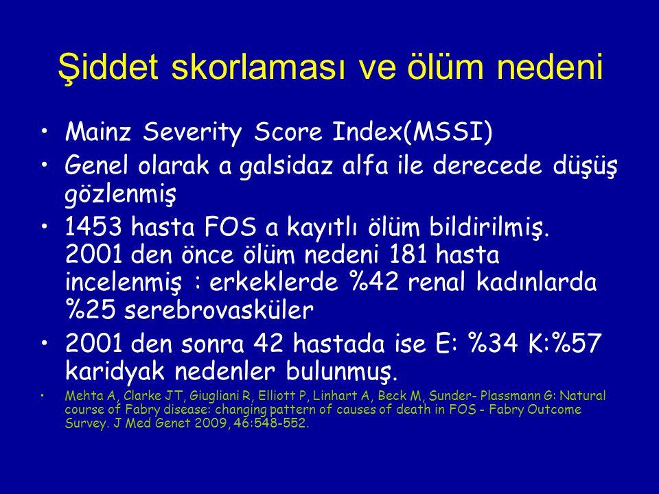 Şiddet skorlaması ve ölüm nedeni Mainz Severity Score Index(MSSI) Genel olarak a galsidaz alfa ile derecede düşüş gözlenmiş 1453 hasta FOS a kayıtlı ö