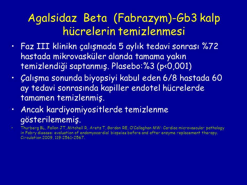 Agalsidaz Beta (Fabrazym)-Gb3 kalp hücrelerin temizlenmesi Faz III klinikn çalışmada 5 aylık tedavi sonrası %72 hastada mikrovasküler alanda tamama ya