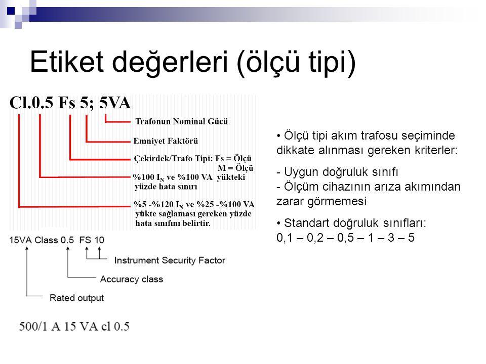 Etiket değerleri (ölçü tipi) Ölçü tipi akım trafosu seçiminde dikkate alınması gereken kriterler: - Uygun doğruluk sınıfı - Ölçüm cihazının arıza akım