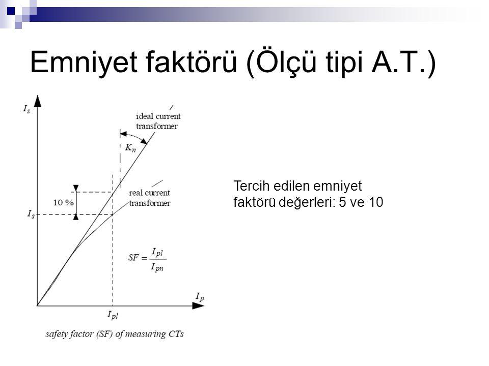 Emniyet faktörü (Ölçü tipi A.T.) Tercih edilen emniyet faktörü değerleri: 5 ve 10