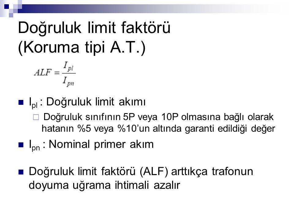 Doğruluk limit faktörü (Koruma tipi A.T.) I pl : Doğruluk limit akımı  Doğruluk sınıfının 5P veya 10P olmasına bağlı olarak hatanın %5 veya %10'un al
