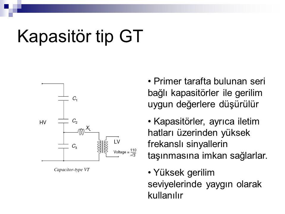 Kapasitör tip GT Primer tarafta bulunan seri bağlı kapasitörler ile gerilim uygun değerlere düşürülür Kapasitörler, ayrıca iletim hatları üzerinden yü