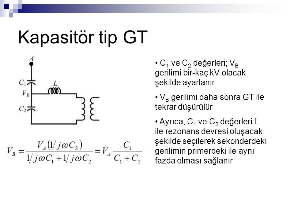 Kapasitör tip GT C 1 ve C 2 değerleri; V B gerilimi bir-kaç kV olacak şekilde ayarlanır V B gerilimi daha sonra GT ile tekrar düşürülür Ayrıca, C 1 ve