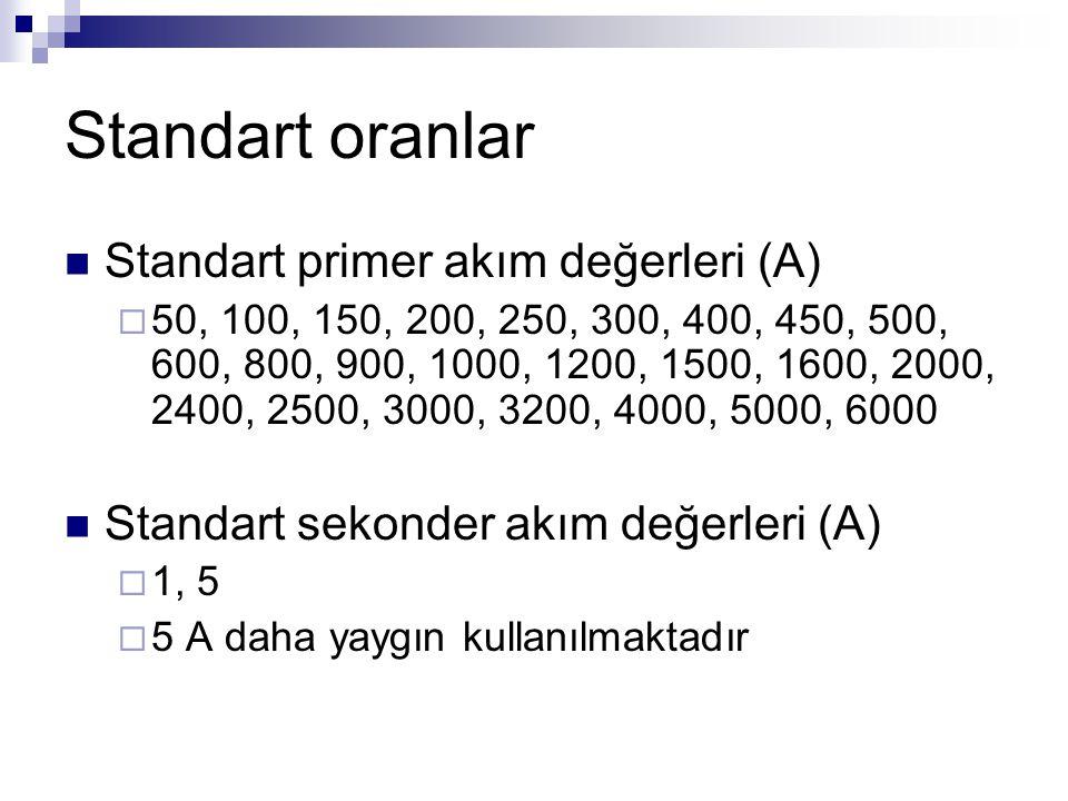 Standart oranlar Standart primer akım değerleri (A)  50, 100, 150, 200, 250, 300, 400, 450, 500, 600, 800, 900, 1000, 1200, 1500, 1600, 2000, 2400, 2