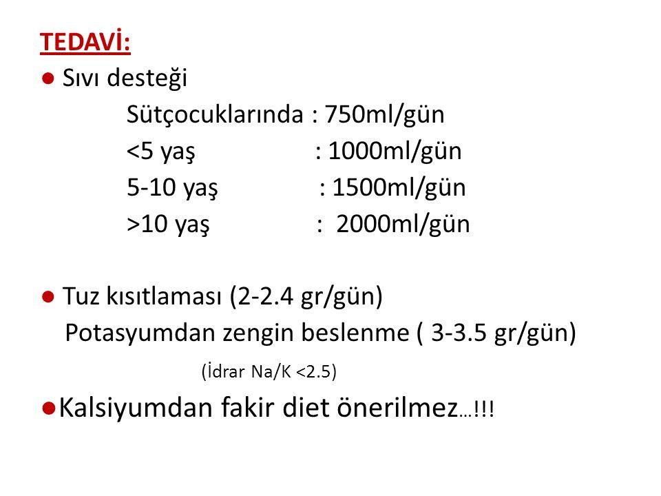 TEDAVİ: ● Sıvı desteği Sütçocuklarında : 750ml/gün <5 yaş : 1000ml/gün 5-10 yaş : 1500ml/gün >10 yaş : 2000ml/gün ● Tuz kısıtlaması (2-2.4 gr/gün) Potasyumdan zengin beslenme ( 3-3.5 gr/gün) (İdrar Na/K <2.5) ●Kalsiyumdan fakir diet önerilmez … !!!