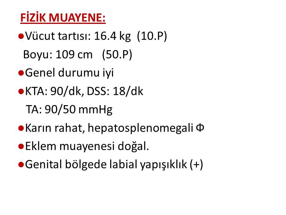 FİZİK MUAYENE: ●Vücut tartısı: 16.4 kg (10.P) Boyu: 109 cm (50.P) ●Genel durumu iyi ●KTA: 90/dk, DSS: 18/dk TA: 90/50 mmHg ●Karın rahat, hepatosplenomegali Ф ●Eklem muayenesi doğal.