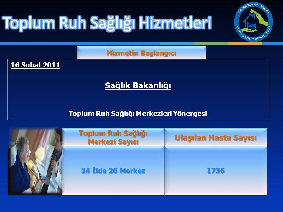 16 Şubat 2011 Sağlık Bakanlığı Toplum Ruh Sağlığı Merkezleri Yönergesi 16 Şubat 2011 Sağlık Bakanlığı Toplum Ruh Sağlığı Merkezleri Yönergesi Hizmetin