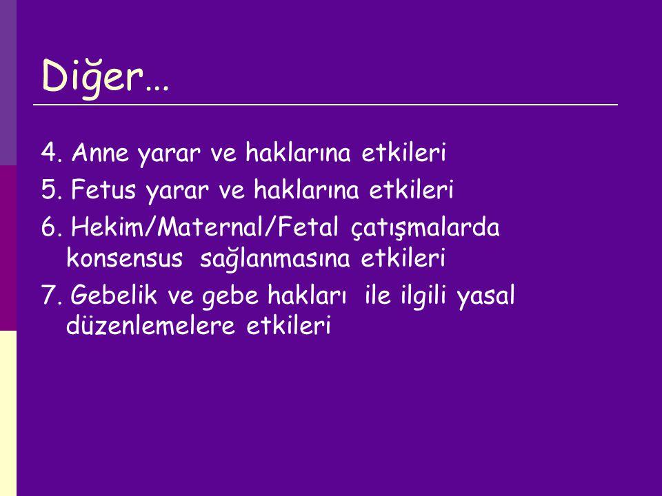 Diğer… 4. Anne yarar ve haklarına etkileri 5. Fetus yarar ve haklarına etkileri 6. Hekim/Maternal/Fetal çatışmalarda konsensus sağlanmasına etkileri 7
