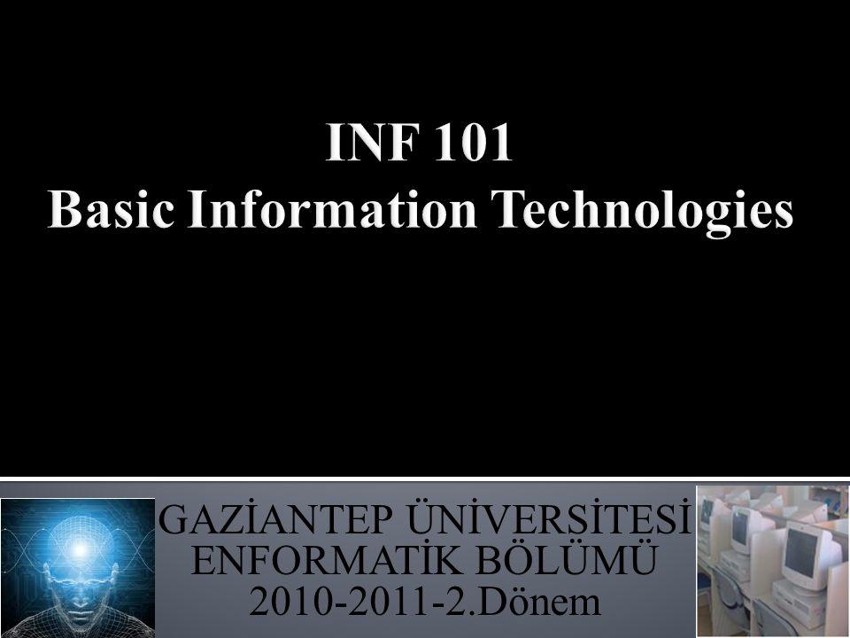 GAZİANTEP ÜNİVERSİTESİ ENFORMATİK BÖLÜMÜ 2010-2011-2.Dönem