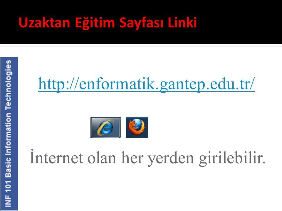 Uzaktan Eğitim Sayfası Linki http://enformatik.gantep.edu.tr/ İnternet olan her yerden girilebilir.
