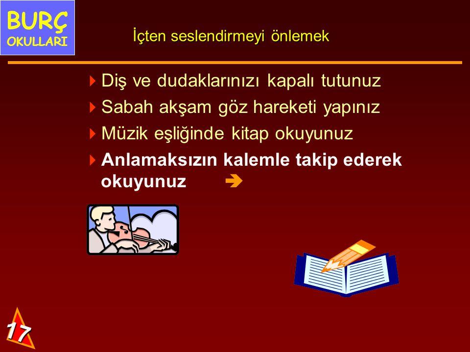 16 5. İçten seslendirme yapma Gözümüz tıpkı tarayıcı gibi kelimeleri tarayıp beynimize gönderir. BURÇ OKULLARI