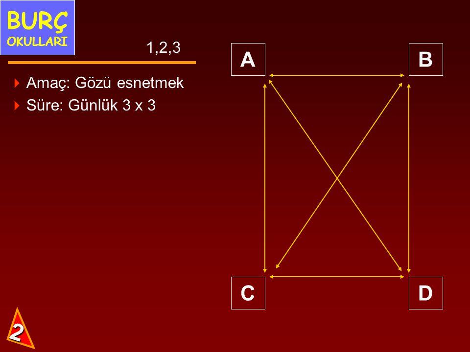 AB CD 1,2,3 2  Amaç: Gözü esnetmek  Süre: Günlük 3 x 3 BURÇ OKULLARI