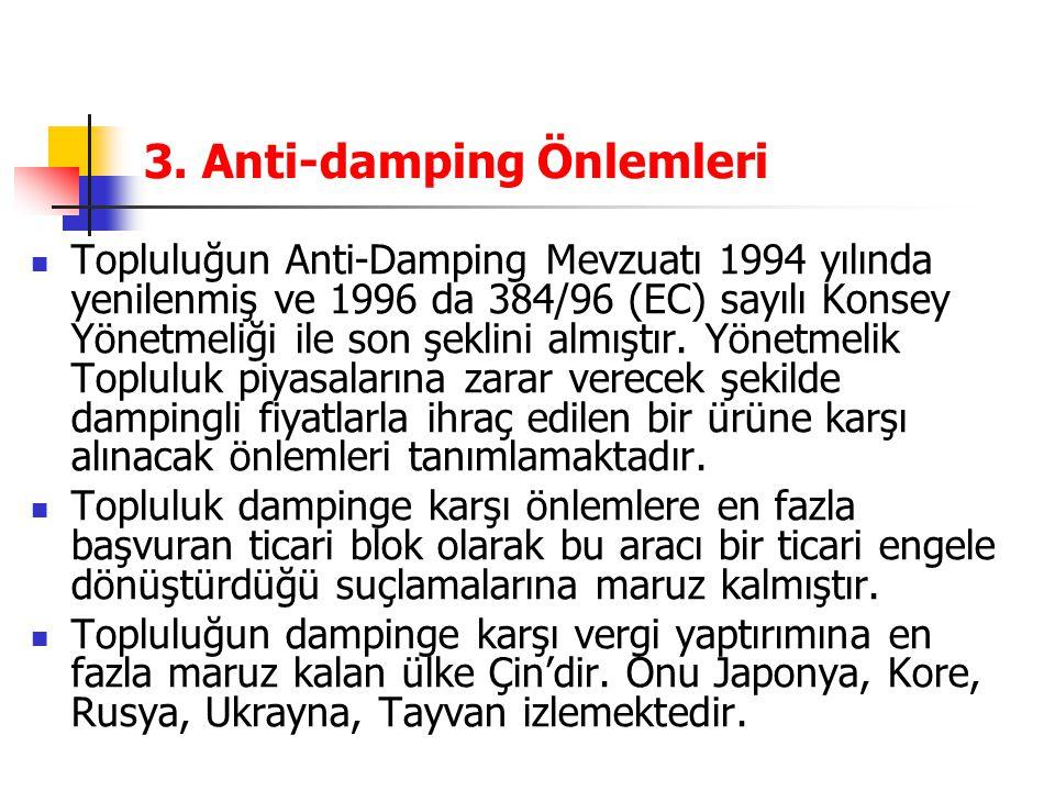 3. Anti-damping Önlemleri Topluluğun Anti-Damping Mevzuatı 1994 yılında yenilenmiş ve 1996 da 384/96 (EC) sayılı Konsey Yönetmeliği ile son şeklini al