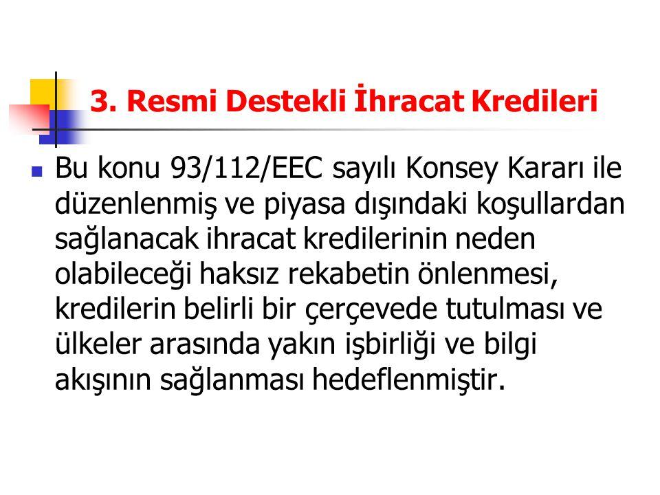 3. Resmi Destekli İhracat Kredileri Bu konu 93/112/EEC sayılı Konsey Kararı ile düzenlenmiş ve piyasa dışındaki koşullardan sağlanacak ihracat kredile