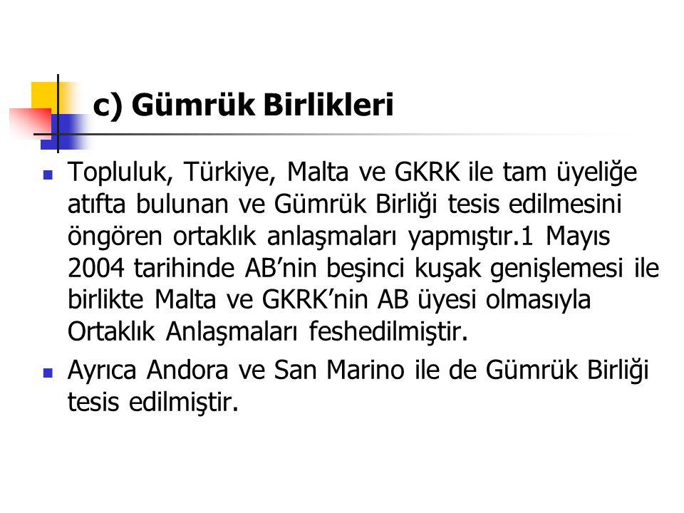 c) Gümrük Birlikleri Topluluk, Türkiye, Malta ve GKRK ile tam üyeliğe atıfta bulunan ve Gümrük Birliği tesis edilmesini öngören ortaklık anlaşmaları y