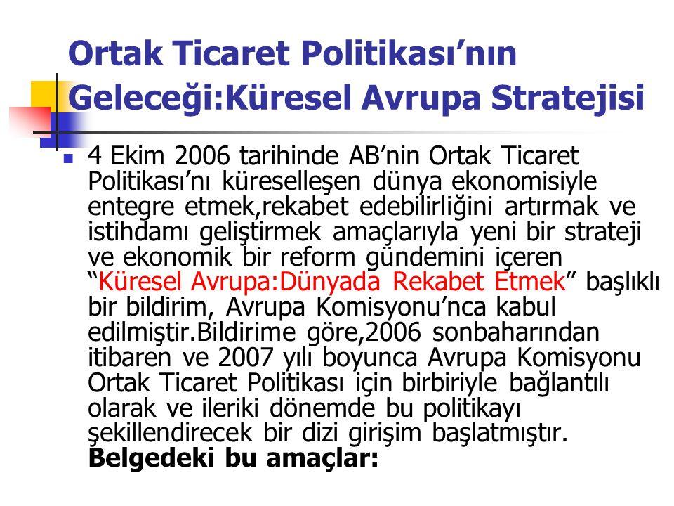 Ortak Ticaret Politikası'nın Geleceği:Küresel Avrupa Stratejisi 4 Ekim 2006 tarihinde AB'nin Ortak Ticaret Politikası'nı küreselleşen dünya ekonomisiy
