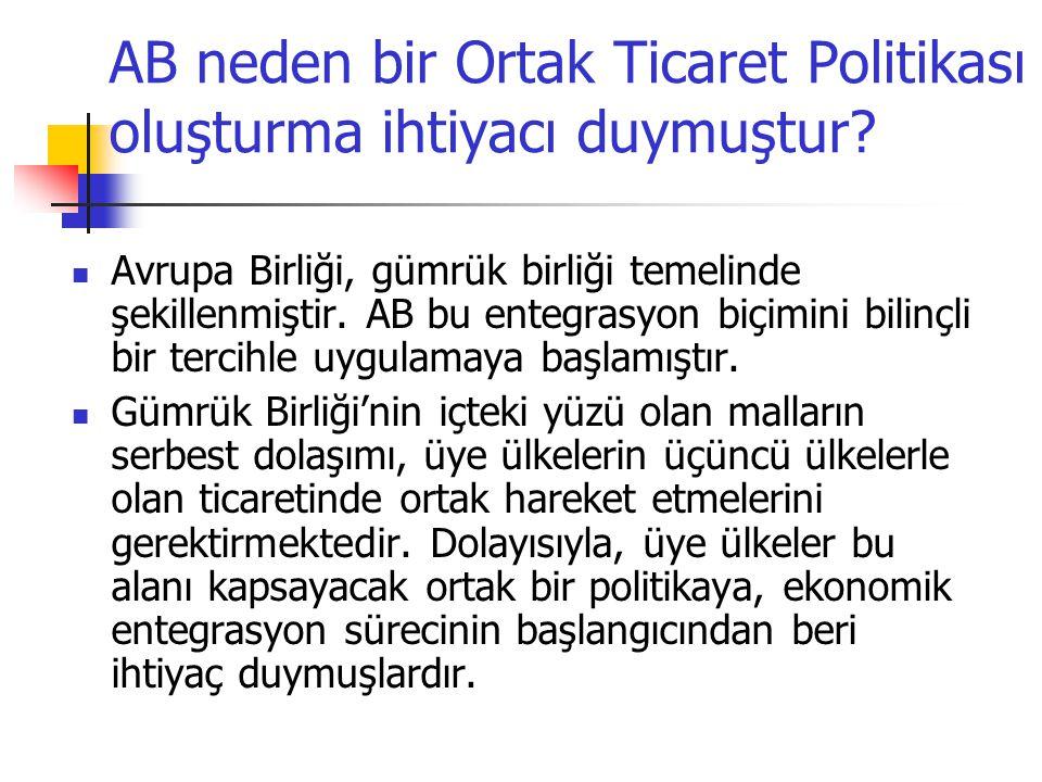 Ortak Ticaret Politikası Alanında Türkiye'nin Uyumu AB'ye üye ülkeler, Gümrük Birliği'nin tamamlanması ile Ortak Ticaret Politikası uygulamaya başlamışlardır.