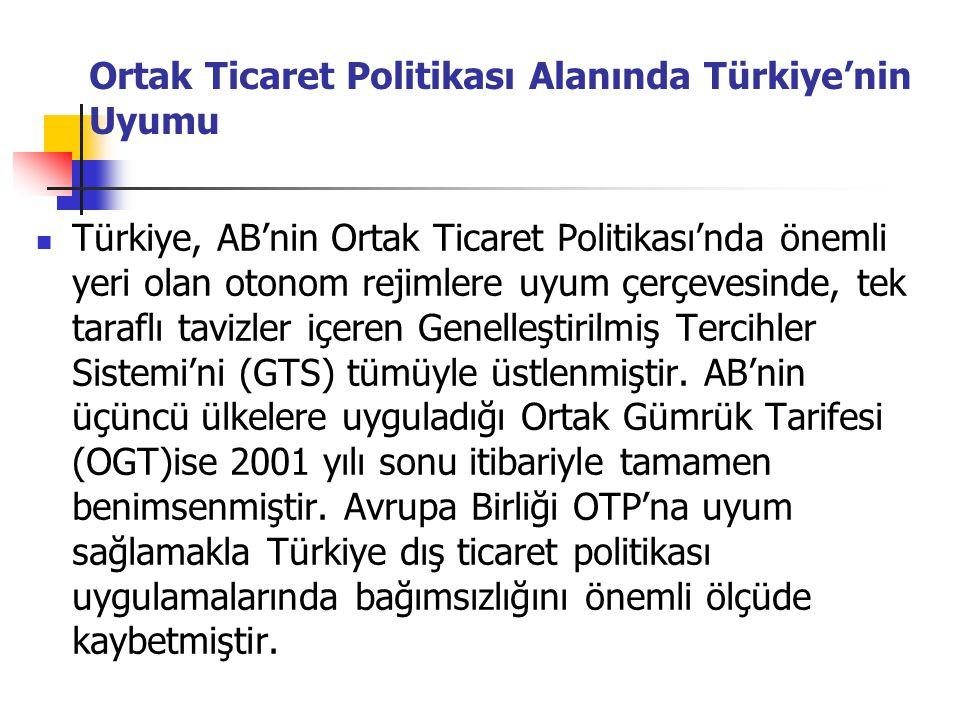 Ortak Ticaret Politikası Alanında Türkiye'nin Uyumu Türkiye, AB'nin Ortak Ticaret Politikası'nda önemli yeri olan otonom rejimlere uyum çerçevesinde,
