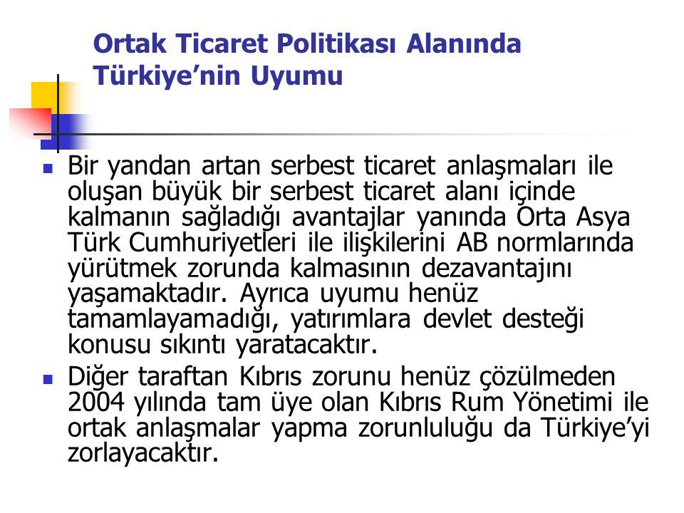Ortak Ticaret Politikası Alanında Türkiye'nin Uyumu Bir yandan artan serbest ticaret anlaşmaları ile oluşan büyük bir serbest ticaret alanı içinde kal