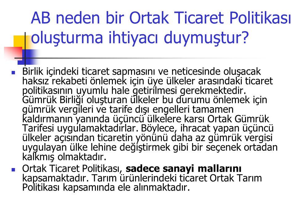 Ortak Ticaret Politikası Alanında Türkiye'nin Uyumu Ortak Ticaret Politikası alanındaki uyum çalışmaları da Katma Protokol ile üstlenilen bir yükümlülük olmakla birlikte, 1996 yılında Gümrük Birliği'nin tamamlanması ile hız kazanmıştır.