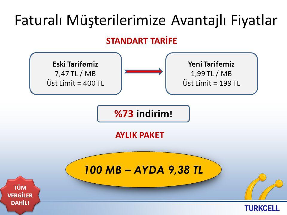 Faturalı Müşterilerimize Avantajlı Fiyatlar 10 Eski Tarifemiz 7,47 TL / MB Üst Limit = 400 TL Yeni Tarifemiz 1,99 TL / MB Üst Limit = 199 TL %73 indirim .