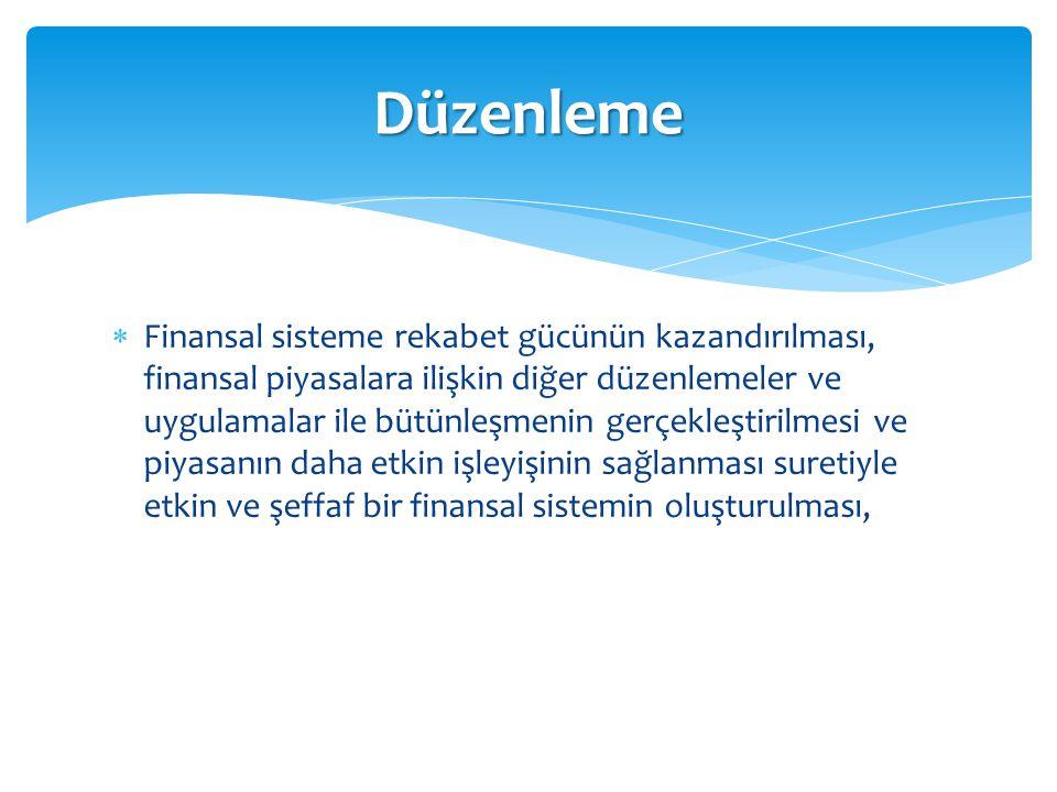  Finansal sisteme rekabet gücünün kazandırılması, finansal piyasalara ilişkin diğer düzenlemeler ve uygulamalar ile bütünleşmenin gerçekleştirilmesi
