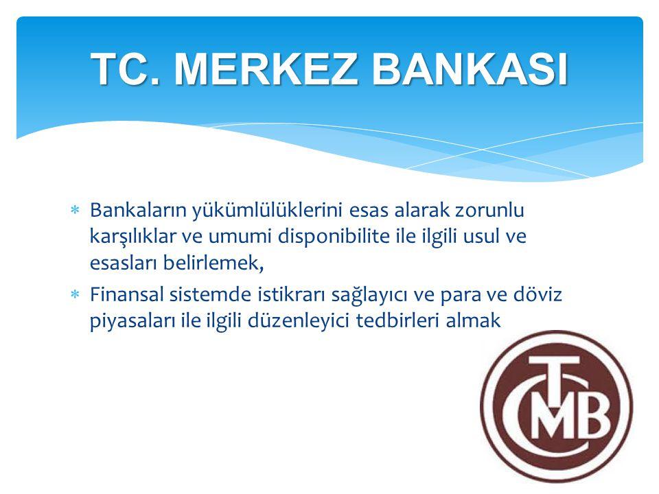  Bankaların yükümlülüklerini esas alarak zorunlu karşılıklar ve umumi disponibilite ile ilgili usul ve esasları belirlemek,  Finansal sistemde istik