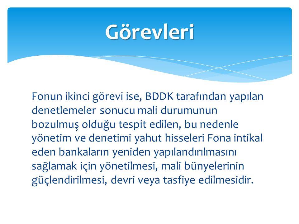 Fonun ikinci görevi ise, BDDK tarafından yapılan denetlemeler sonucu mali durumunun bozulmuş olduğu tespit edilen, bu nedenle yönetim ve denetimi yahu