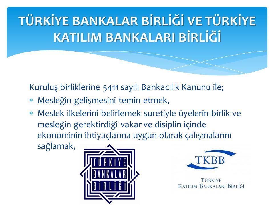 Kuruluş birliklerine 5411 sayılı Bankacılık Kanunu ile;  Mesleğin gelişmesini temin etmek,  Meslek ilkelerini belirlemek suretiyle üyelerin birlik v
