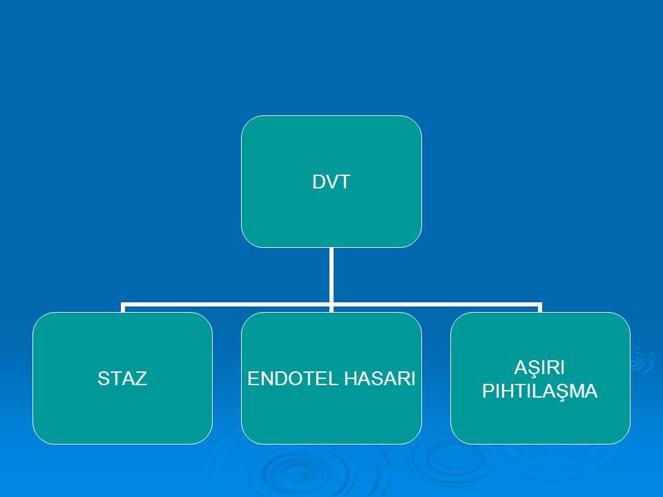 Aktive protein c kofaktör bozukluğu:  DVT için en önemli risk faktörüdür.Faktör 5 gen mutasyonuna bağlıdır.