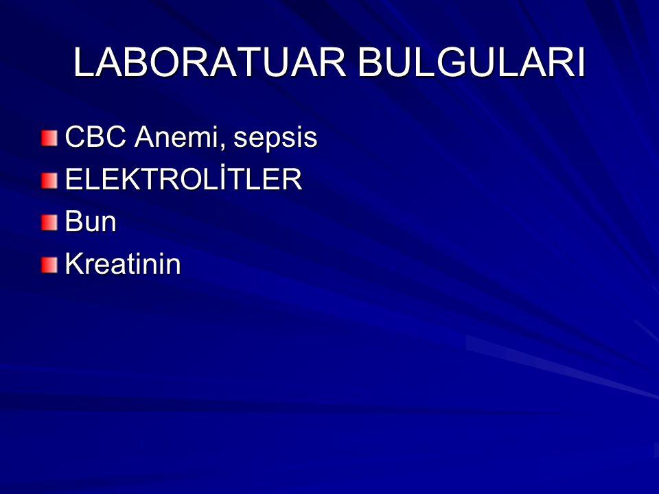 LABORATUAR BULGULARI CBC Anemi, sepsis ELEKTROLİTLERBunKreatinin