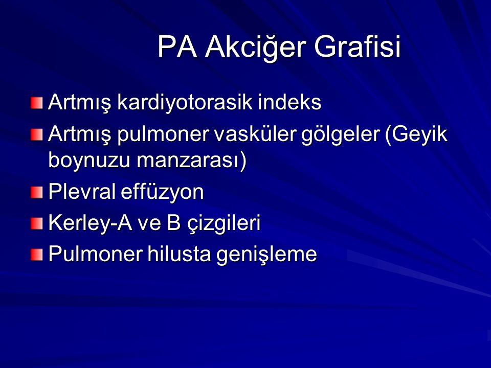 PA Akciğer Grafisi PA Akciğer Grafisi Artmış kardiyotorasik indeks Artmış pulmoner vasküler gölgeler (Geyik boynuzu manzarası) Plevral effüzyon Kerley