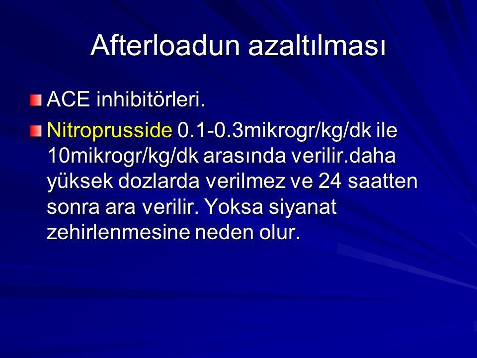 Afterloadun azaltılması ACE inhibitörleri. Nitroprusside 0.1-0.3mikrogr/kg/dk ile 10mikrogr/kg/dk arasında verilir.daha yüksek dozlarda verilmez ve 24