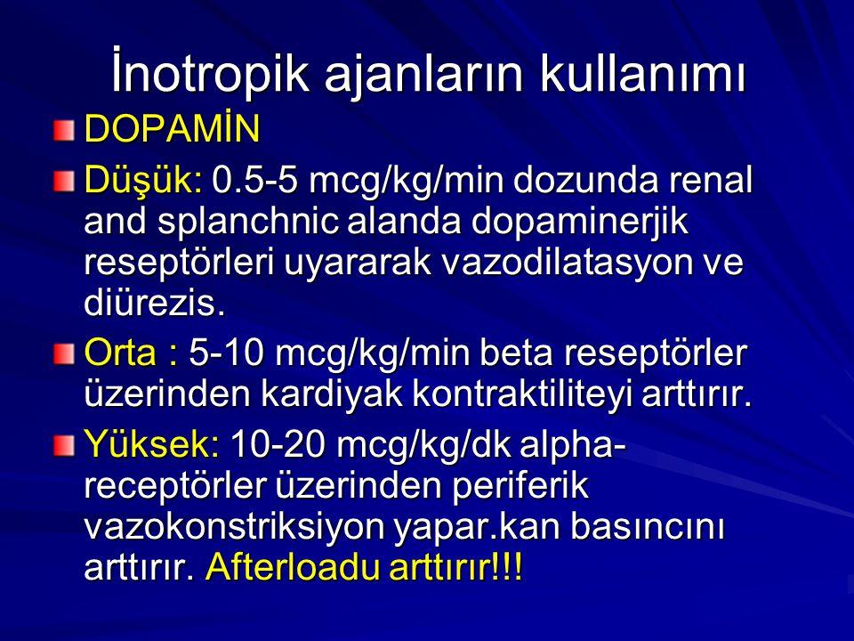 İnotropik ajanların kullanımı DOPAMİN Düşük: 0.5-5 mcg/kg/min dozunda renal and splanchnic alanda dopaminerjik reseptörleri uyararak vazodilatasyon ve