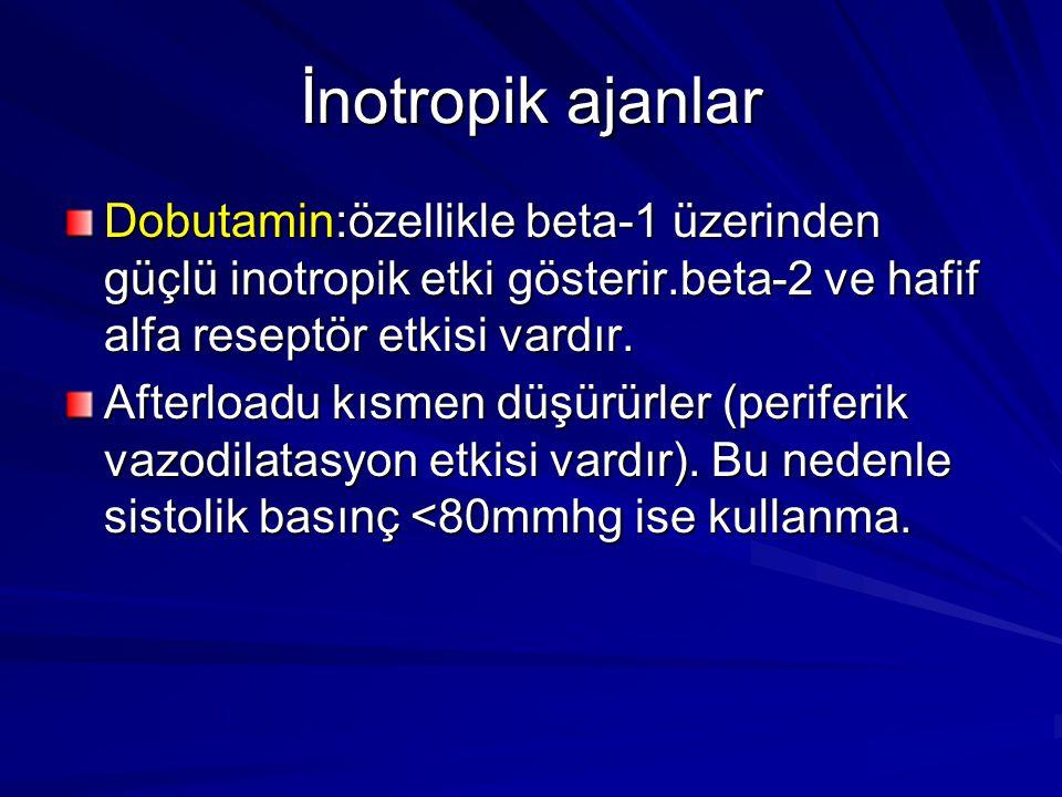 İnotropik ajanlar Dobutamin:özellikle beta-1 üzerinden güçlü inotropik etki gösterir.beta-2 ve hafif alfa reseptör etkisi vardır. Afterloadu kısmen dü